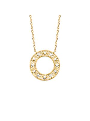 18ct microplated yellow gold pendant with weave filigree design