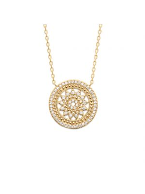 18ct yellow gold microplated ornate cz pendant