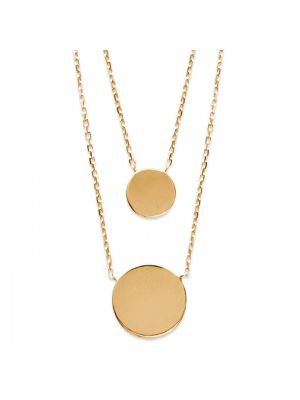 18kt Gold Microplated Layered Round Disc Necklace