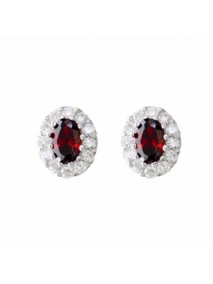 Sterling silver garnet and cz cluster stud earrings