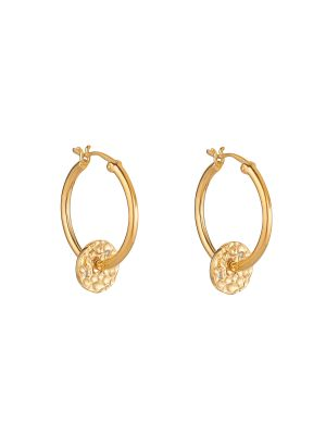 Yellow Gold Microplated Textured Coin Hoops