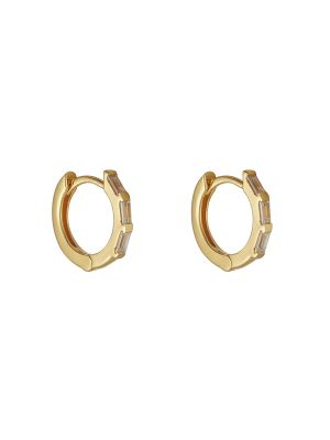 18ct Microplated Yellow Gold CZ Baguette Set Huggie Hoops