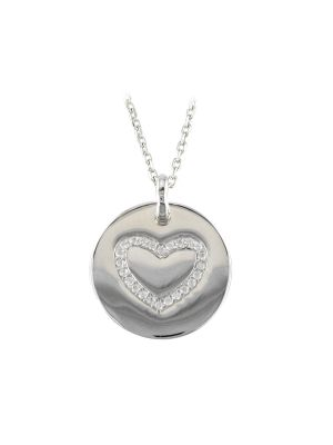Sterling silver disk with stone set heart on a sterling silver chain
