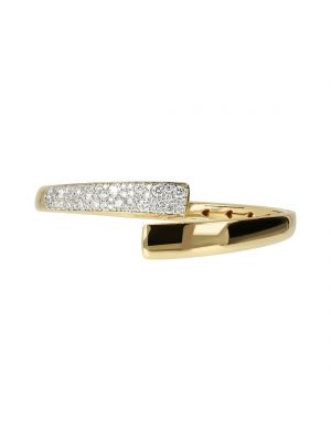 Bronzallure 18ct microplated yellow gold cz crossover bangle