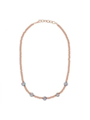 Necklace with Grey Pearls and Golden Rosé Washers, Bronzallure