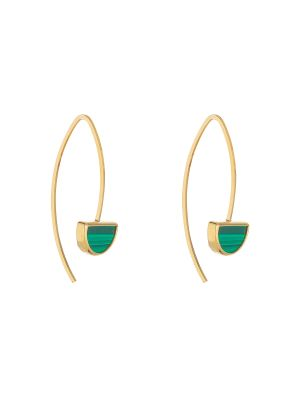 9ct Yellow Gold Malachite Green Pull Through Earrings
