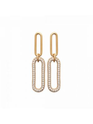 18ct Microplated Yellow Gold Oblong Oval Drop Earrings
