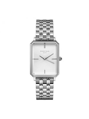 The Octagon White Sunray Steel Silver 23*29mm watch by rosefield