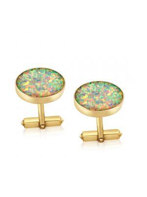 9ct Yellow Gold Opal Cufflinks