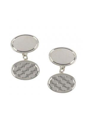 Sterling Silver Patterned Oval Cufflinks