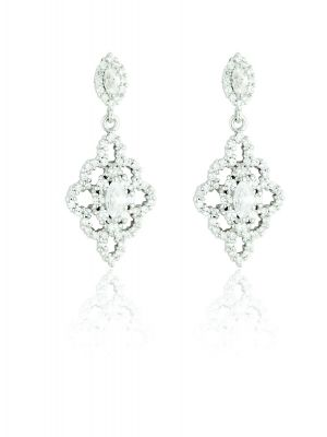 Sterling Silver vintage style marquise shape cubic zirconia drop earrings