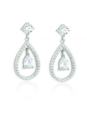 Paul Costelloe Sterling Silver cubic zirconia pear shape drop earrings
