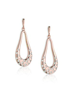 Paul Costelloe Sterling Silver & Rose plate oval drop earrings with scattered cubic zirconia