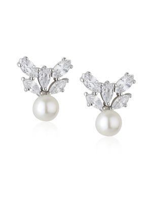 Paul Costelloe Aurora Sterling silver freshwater pearl & cz stud earrings
