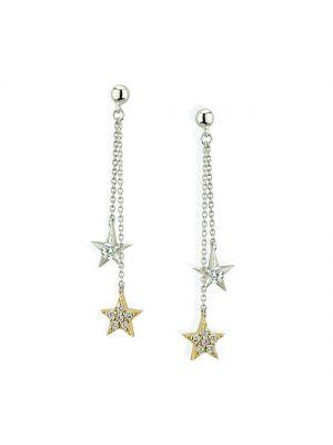 Paul Costello Sterling Silver Crystal Set Double Star Drop Earrings