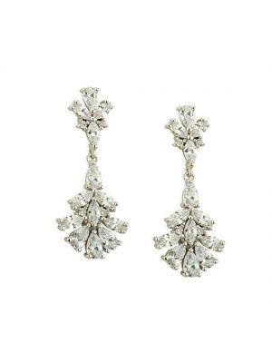 Paul Costello Sterling Silver Crystal Set Flower Drop Earrings