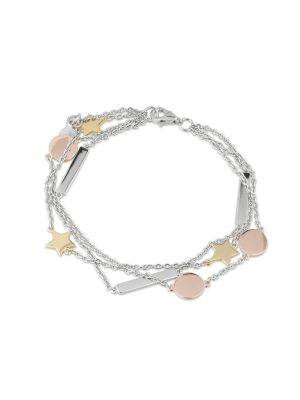 Paul Costello Star & Moon Three Colour Layered Sterling Silver Chain Bracelet