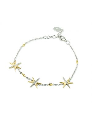 Paul Costello Sterling Silver Crystal Set Yellow Star Charm Bracelet