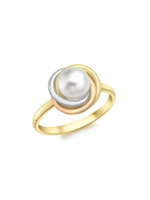 9ct Yellow, White & Rose Gold Cultured Pearl Ring
