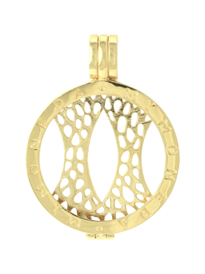 925 Silver Yellow Gold Plated Large Pendant