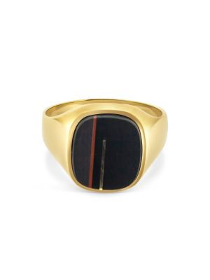 9ct Yellow Gold Gent's Ornate Onyx Signet Ring