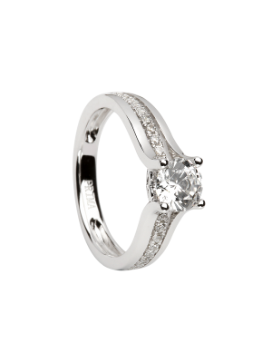 Sterling silver single stone cubic zirconia ring with row of cubic zirconia