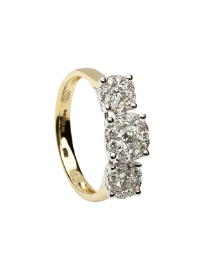 Sterling silver and gold plate three stone microset cz promise ring