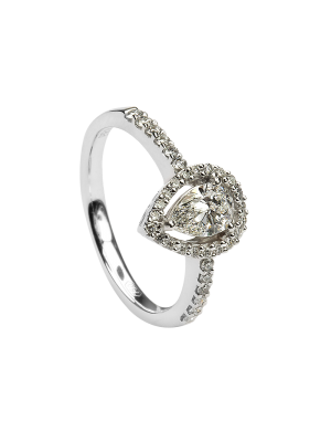 Sterling silver pear shape cubic zirconia ring surrounded with row of cubic zirconia and shoulder