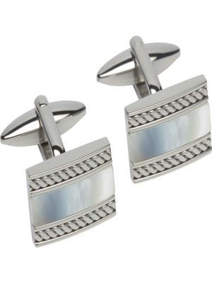 Stainless Steel Cufflinks with mother of Pearl