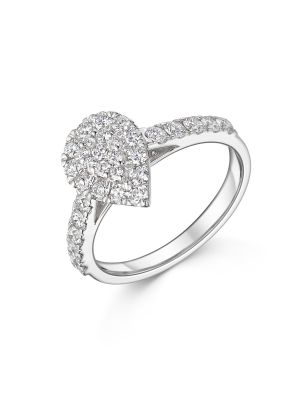 18ct White Gold Diamond Pear Cluster Ring