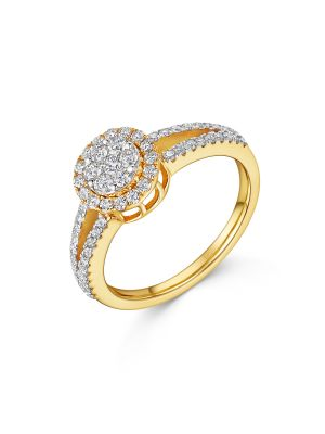 18ct Yellow Gold Cluster Style Engagement Ring