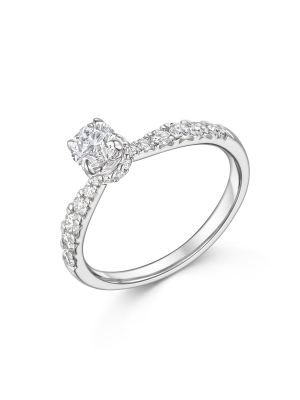 18ct White Gold Classic Solitaire Diamond Engagement Ring