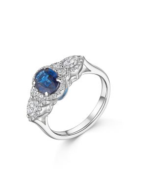 18ct White Gold Fancy Sapphire & Diamond Ring