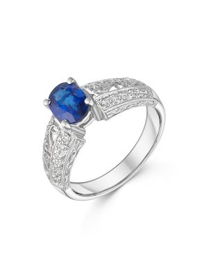 18ct White Gold Vintage Style Sapphire Ring