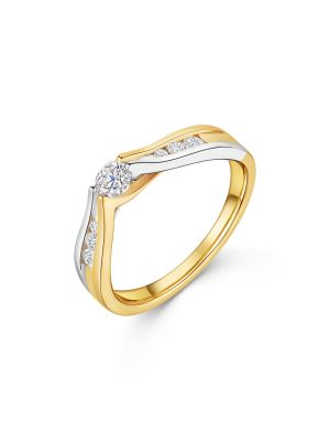 18ct Two Tone Solitaire Diamond Ring