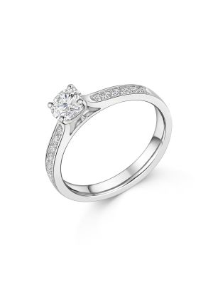 18ct White Gold Solitaire Channel Set Diamond Ring