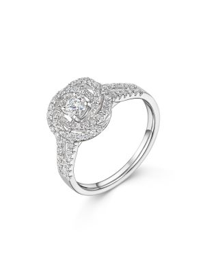 18ct White Gold Fancy Floral Diamond Ring