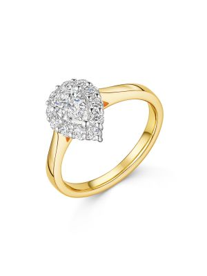 18ct Yellow Gold Pear Cut Halo Diamond Ring