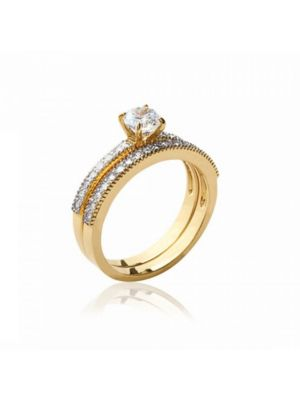 18ct Yellow Gold Microplated CZ Ring Set