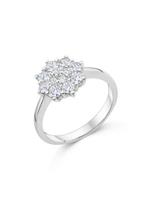 Sterling Silver Cluster Style Promise Ring