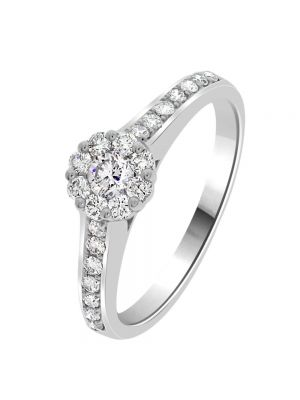 18ct White Gold Diamond Cluster Set and Diamond Shoulder Engagement Ring