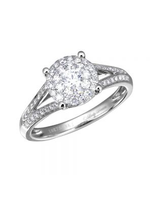 18ct White Gold Pave Set Cluster Diamond Ring