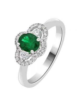 18ct White Gold, Diamond and Oval Emerald Ring