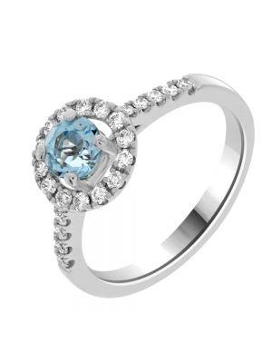 18ct White Gold Diamond and Blue Topaz Ring
