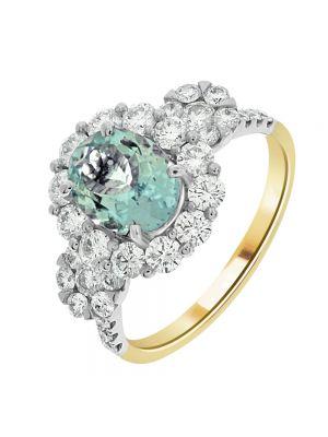 18ct Yellow Gold Diamond and Aquamarine Ring