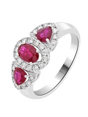 18ct White Gold Three Ruby and Diamond Ring