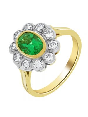 18ct Yellow Gold Diamond and Oval Cut Emerald Ring