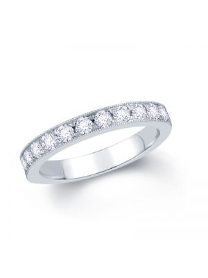 18ct White Gold Pave Set Round Brilliant Diamond Wedding Band