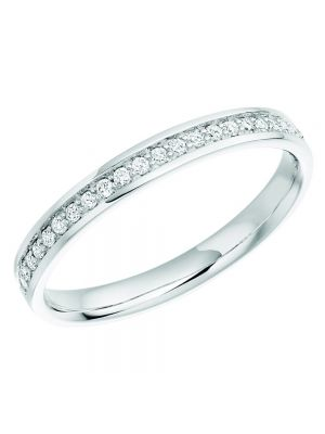 18ct White Gold In Grain Set Diamond Wedding Band