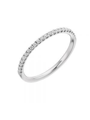 18ct White Gold Narrow Diamond Set Ladies Wedding Band